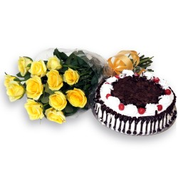 Yellow roses blackforest cake