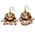 Lacquered Red & Green Bali Earrings
