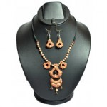 Multi Layered Beads Terracotta Necklace -Reddish Orange