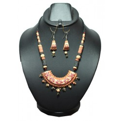 Half moon curve desing Terracotta Necklaces-Red & White
