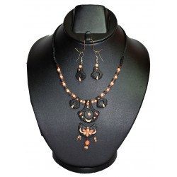 Multi Layered Hanging Beads Terracotta Necklace-Black & Orange