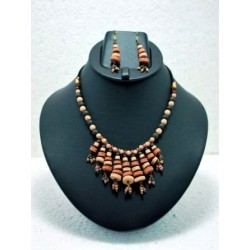 Multi Layered Terracotta Necklace -Multicolour