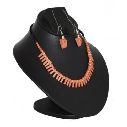 Small leaf Terracotta Necklace-Orange