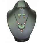 Terracotta Pendent Set -Green & Orange